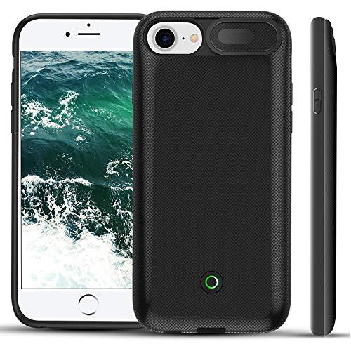 3000mAh Akku-Hülle für iPhone 8/iPhone 7 Battery Case Slim iPhone 6/iPhone 6S Schutzhülle Power Bank Akku Case für iPhone 8/7/6S/6 (Schwarz) (Case 6 Battery Apple Iphone)