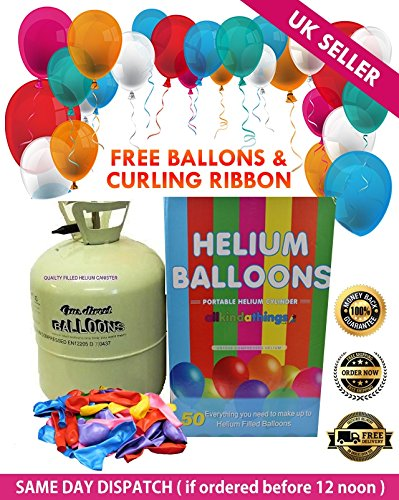 Disposable Helium Gas Canister Cylinder Fills 50 Balloons with Balloons Included