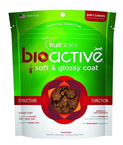 Fruitables BioActive Grain Free Complete Soft Glossy Coat Dog Treats Chews 6z - Coat Dog Treats