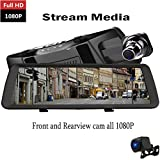 YANDA Full HD 1080 P Dash Cam 10 Pouce Flux Média Voiture Caméra Vidéo DVR Conduite enregistreur Rétroviseur, Imperméable à l'eau de Vision Nocturne Avant et Caméra de Recul 1080p