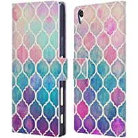 Official Micklyn Le Feuvre Rainbow Pastel Watercolour Moroccan Quatrefoil Leather Book Wallet Case Cover For Sony Xperia Z5 Premium / Dual