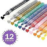 Acrylstifte Marker Stifte - 12 Acrylfarben Permanent Pens wasserfest Filzstift Folienstift Set, für holz steine leinwand / DIY Fotoalbum / Glasmalerei