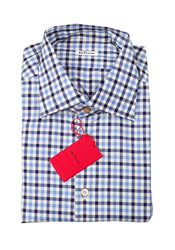 Preisvergleich Produktbild Kiton CL Checked White Blue Shirt Size 45 / 18 U.S.