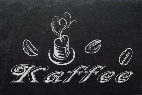 """Schiefertafel mit wetterfester Lasergravur des Motives \""""Kaffee-003\"""" z. B. als Deko für Kaffeeecke oder als Schild für die Kaffeeküche von LaserArt24"""