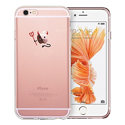 iPhone 7S Case / iPhone 8 Case, Walmark Soft Gel TPU Silicone Case Clear with Design Cute Cartoon Slim Fit Ultra Thin Protective Cover for 4.7 inches iPhone 7 /iPhone 8_Evil