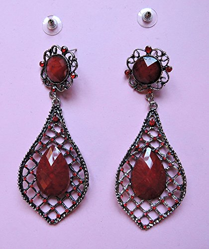 Prachtvolle barocke Ohr-Ringe -rot-silbern