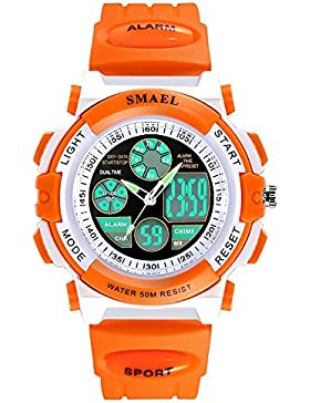 Mädchen Quarz Mode Sportuhr für Frauen Digital Chronograph Uhren Orange