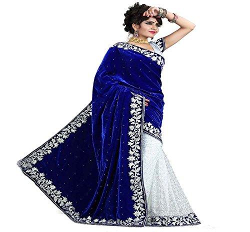 Sonakshi Sarees Velvet Saree (Ssvel100_Blue)