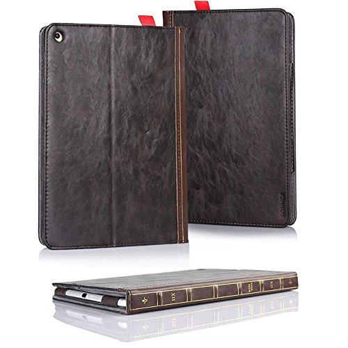 HSRpro Buch Vintage Hülle für Apple iPad 2 - iPad 3 - iPad 4 - Tasche Cover Case Etui Schutzhülle in Antik Optik Braun (Bookbook Ipad 3)