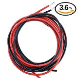 hilitchi 14calibre (AWG) silicona Cable de alambre, 3,6m), color negro/rojo, Super suave y Flexible