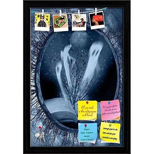 Halloween Stories Printed Bulletin Board Notice Pin Board | Black Frame 16 X 23.5Inch ()