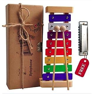 Holz Xylophon für Kinder - mit Mundharmonika und Lieder Karten: Perfekt Glockenspiel f. Kleine Musiker - Erzeugt Magische Klänge mit Kleinen Händen; Baby Schlaginstrument Musikinstrument ab 3 Jahren