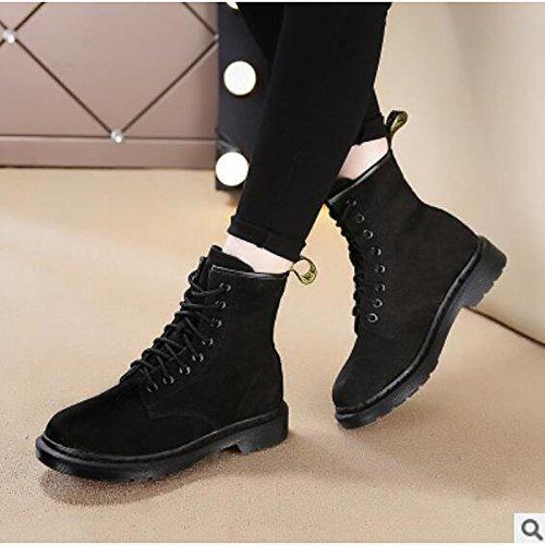 HSXZ Scarpe donna pu Autunno Inverno Comfort stivali Chunky tallone punta tonda Mid-Calf scarponi per Casual Kaki nero Black