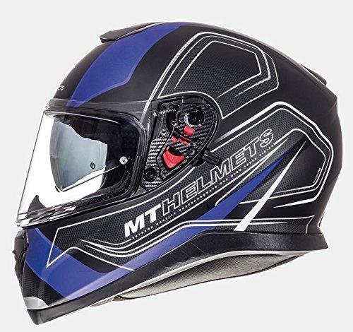 Mt casco integrale, modello: thunder 3 sv trace, colore azzurro / rosso opaco l nero e blu