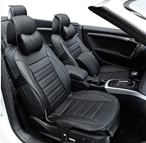 3D FRONTLINE PU Leather Car Seat Cover For Hyundai Verna Black