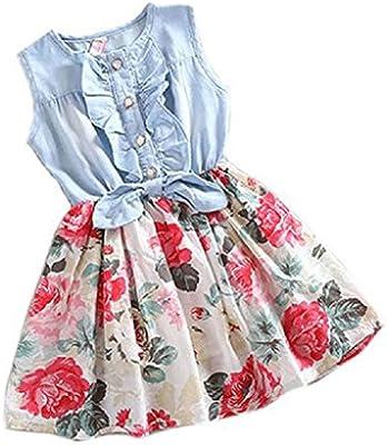 Koly Bebita Cordón Princesa Tutu vestido de mezclilla Manga corta