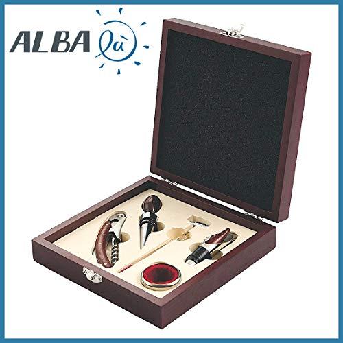 Set vino da regalo - valigetta legno + 5 pezzi acciaio professionale sommelier - idea bomboniera matrimonio utile e originale (gl-2411130)
