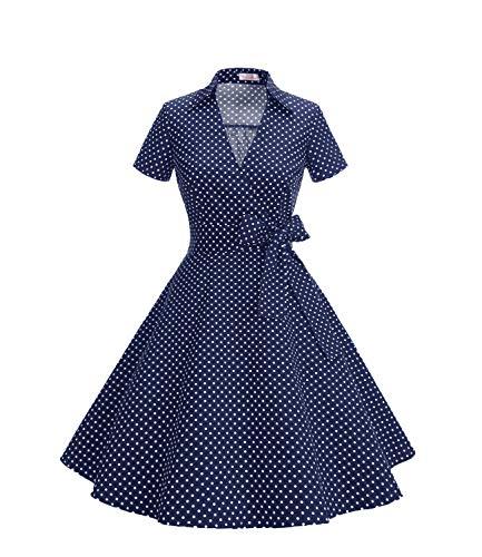 278c4a2d422cf8 Timor Mode - Vestido de Manga Corta para Mujer de los años 50, diseño de  Audrey Hepburn Rockabilly Swing, Plisado Pois Marine2 XL