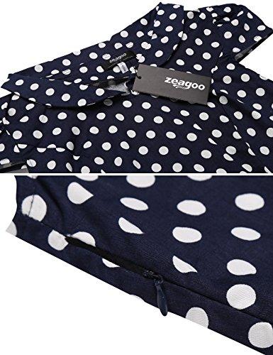 Zeagoo Damen Vintage 50er Jahre Kleid Swing Rockabilly Cocktailkleider Partykleider Sommerkleider Kurzarm mit Gürtel Blau Weiß M - 5
