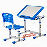 #9: Furniture First SUPREME Kids Height Adjustable Study Table & Chair Set - Maintains Posture and ComFort (3-14 Years)- Blue, Imported by FURNITURE FIRST