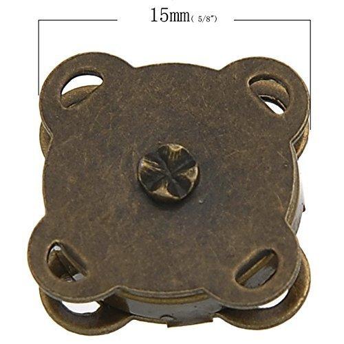 Little Sommersprosse 10, Bronzefarben, In magnetischer Verschluss zum Annähen, 15 mm, zum Nähen --Great Basteln Kleidung, Tasche, für Scrapbooking, etc. - Magnetische Snap Tasche