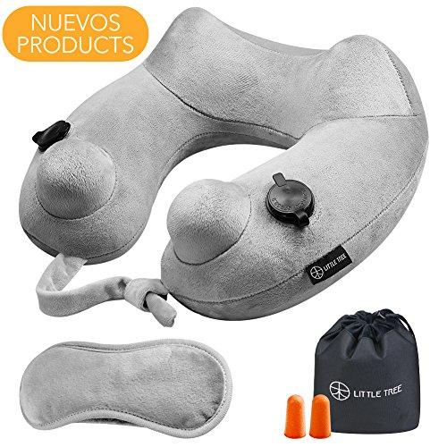 Almohada de viaje inflable,Almohada Cervical, LITTER TREE Tela de terciopelo suave con soporte de cuello,más rápido bolsas de aire duales 15 segundos Inflar y ergonómico diseño talla única