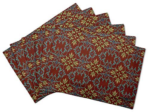 S4Sassy Rouge Dessin vectoriel Damasse Set de Table réversible Tapis de Table réversible-12 x 18 Pouces-6 pièces