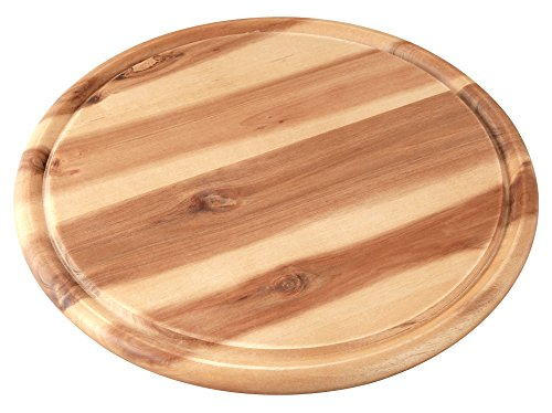 Fackelmann Vesperbrett AKAZIE, Küchenbrett aus Natur-Holz mit Saftrille, Frühstücksbrettchen (Farbe: Braun), Menge: 1 Stück