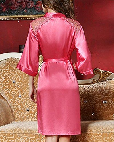 Damen Spitze Nachthemd Nachtwäsche Negligee Satin Nachtkleid Zweiteilig Koralle Rot