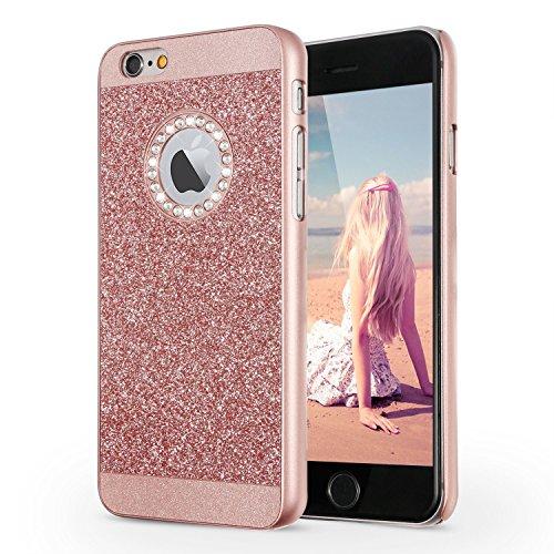 """iPhone 6S Hülle, Imikoko® Luxus Bling Hardcase Strass Glitzer Schutzhülle Hülle Handyhülle Etui Case Für iPhone 6/6S (4.7"""",Schwarz) … Rosegold"""