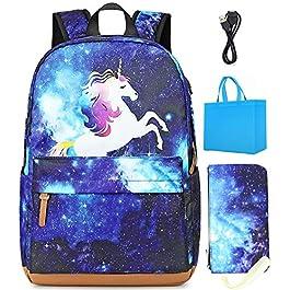 Meisohua Zaino Scuola con Stampa Galassia Zainetto per PC portatile Grande Capacità Impermeabile con Porta USB e Astuccio Adatto per Ragazze
