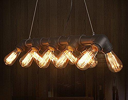 Lightess Rétro Lampe Vintage E27 Suspension Luminaire Vintage Industriel 10 Edisons style Tuyau en Métal Lampe Suspension d'Atmosphère Eclairage de Café Bar Chambre Salon Salle - Noir