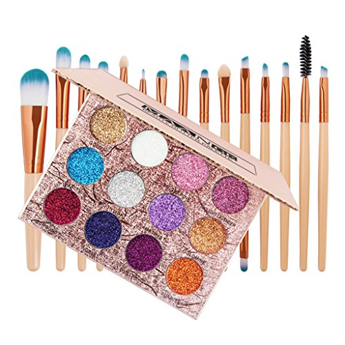D DOLITY 12 Couleurs Palette de Ombre à Paupières Pailleté + 15x Kabuki Pinceaux de Maquillage