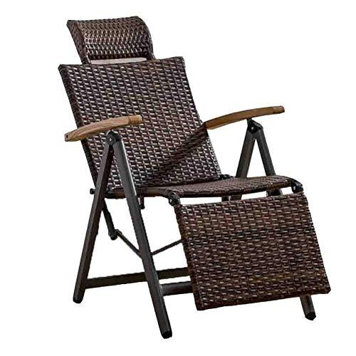 Wicker Deck (ADAHX Outdoor Indoor Wicker Rattan Schaukelstuhl, verstellbare Schwerelosigkeit Lounge Chair Vintage Recliner mit U-förmigen Kopfstütze für Patio, Pool, Deck, Home, Gewicht Kapazität 440 £)