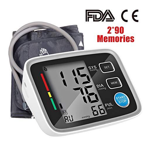 Digitales Oberarm Blutdruckmessgerät Hizek Automatische Blutdruckmonitor und Pulsmessung, mit Standard-Manschette (22cm - 32cm), Großbild-Display und 2 Benutzer-Modus Speicherfunktion (2 × 90)