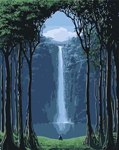 Wafjj tela pittura digitale cascata di alberi vernice dai numeri con la pittura digitale kit di tela per adulti bambini decorazioni per regali di natale 16x20 pollice(senza cornice)