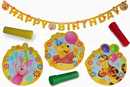 Girlande Geburtstag Kinder Party Happy Birthday Dekoration Kindergeburtstag Winnie Puuh Pooh + Pfeife als Kinder-Spielzeug Papier Deko Herzlichen Glückwunsch Jungen Mädchen Partydeko - Band Pooh Winnie The