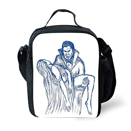 ZKHTO School Supplies Vampire,Count Dracula in Cape Carrying His Prey Victim Woman Sketchy Halloween Artwork,Blue and White for Girls or Boys Washable