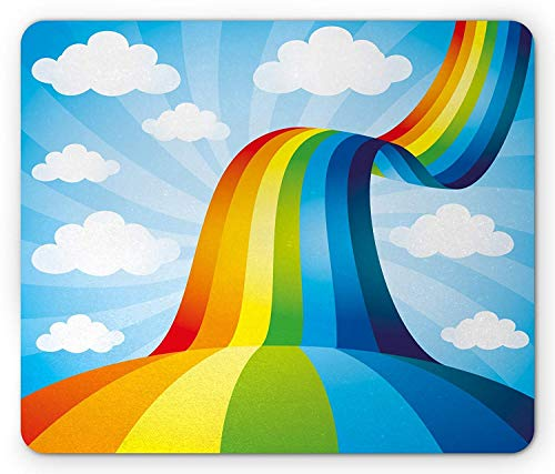Pad, Rainbow Road Clouds Abstract Cartoonish Expression Natural Events Ribbon, Standard Size Rectangle Non-Slip Rubber Mousepad, Sky Blue Multicolor ()