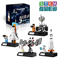 KWANITHINK Space Rocket Toys for Children, 4 in 1 Space Construction Toys Including Rocket, Satellite Lunar Lander and Astronaut, STEM Educational Toys for Boys And Girls