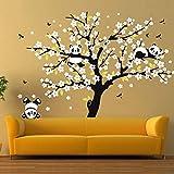Adesivo da parete Adesivi murali di enorme albero di ciliegio in fiore bianco Decalcomanie decorative per camerette che giocano a panda Adesivo per camera dei bambini Divano sfondo