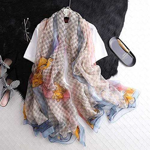 Fliyeong Yoroyarn Schal White Plaid Gradient Sunscreen Schal Silk Scarf - White Plaid Schal