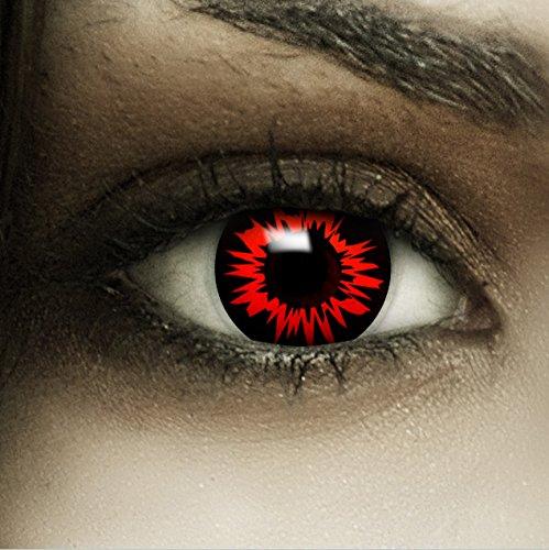 Farbige rot schwarze Kontaktlinsen 'Headshot' + Kunstblut Kapseln + Behälter von FXCONTACTS®, weich, ohne Stärke als 2er Pack - perfekt zu Halloween, Karneval, Fasching oder Fasnacht