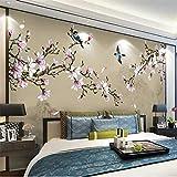 HONGYAUNZHANG Blühende Pflanze Blumen Benutzerdefinierte Fototapete 3D Stereoskopische Wandbild Wohnzimmer Schlafzimmer Sofa Hintergrund Wandmalereien,140Cm (H) X 220Cm (W)