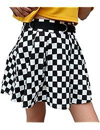 Bañador de Cuadros Escoceses en Blanco y Negro de Cintura Alta Streetwear  Bailando Faldas Cortas 244807144069