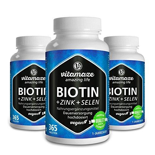 3 Dosen Biotin hochdosiert + Selen für Haarwuchs, Haut & Nägel - Der VERGLEICHSSIEGER 2018* - 3x 365 vegane Tabletten für je 1 Jahr Biotin hochdosiert 10.000 mcg, Qualitätsprodukt-made-in-Germany ohne Magnesiumstearat