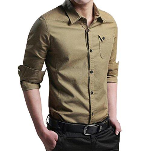 Preisvergleich Produktbild Sannysis Herren Herbst Casual Military Cargo Slim Button Langarm Kleid Shirt Top Bluse Hemden für Männer
