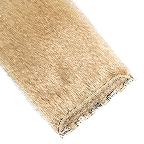 """Lady Outlet Mall 20 pulgadas clip de una pieza en extensiones del cabello humano de Remy 3/4 cabeza completa de pelo recto real 20""""(50cm,50g) #24 Rubio Natural"""