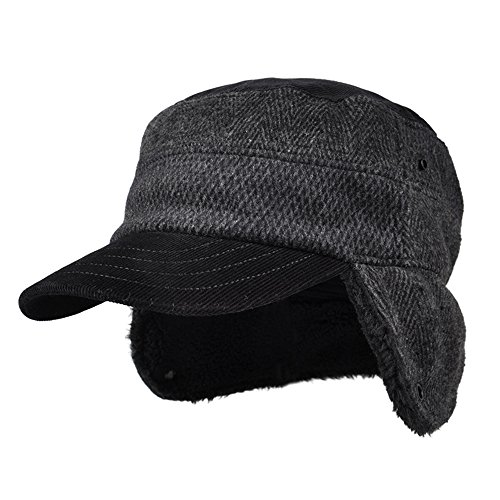 Kenmont invernale da uomo berretto con paraorecchie a spina di pesce piatto Tappi in pile caldo in lana con visiera cappello da baseball Black Large