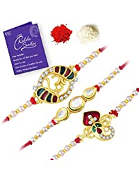Sukkhi Alluring Gold Plated Kundan Rakhi Combo (Set of 3) with Roli Chawal and Raksha Bandhan Greeting Card for Men